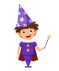 Poster Superheroes The little magician. A child in a purple suit and cap with stars