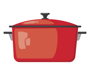 Cartoon red pot with lid on white background. Kitchen utensils.