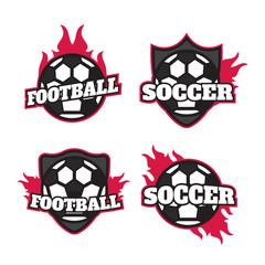 Set of soccer football badge logo design templates. Sport team