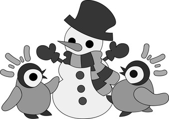 Pretty baby penguins and a stylish snowman