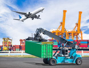 Crane lifts a container to commercial delivery cargo container