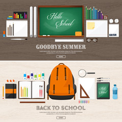 Back to school.Vector illustration.Flat style.Education and online courses, web tutorials, e-learning. Study,creative process. Power of knowledge.