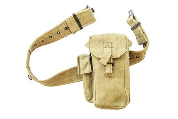Bags for devices on a belt with a white background.