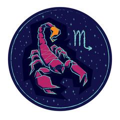 Zodiac sign Scorpio on night starry background.