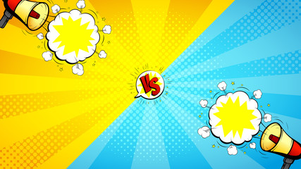 Versus letters fight illustration. Vector background with loudspeakers and speech bubbles. Decorative backdrop with bomb explosive in pop art style.