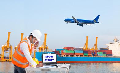 Engineer dockers working at port