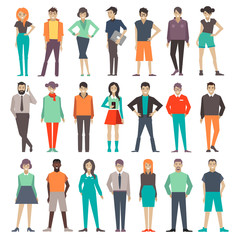 people. set. characters. illustration.