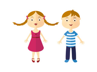 Cartoon girl and boy. Vector illustration of children. Girl with braids vector. Boy in striped shirt. Cute kids