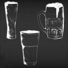 Vector glasses and mugs on black chalkboard