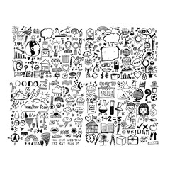 hand draw business doodles icon illustration design