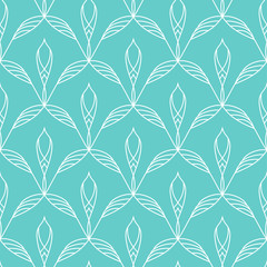 Repeating floral linear seamless pattern