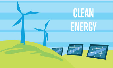 Clean energy vector illustration. Power plant using renewable solar energy with sun and wind turbine. Production of energy from the sun and wind. Ecological types of electricity. Eco generation