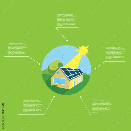 Renewable energy vector illustration  Eco house in green