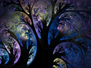 Abstract fractal dark blue night trees computer generated image