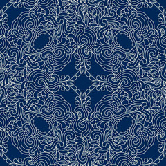 Seamless decorative zentangle graphic pattern on dark blue backg