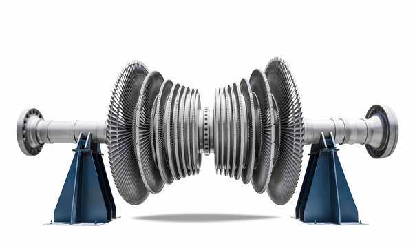 Steam turbine of thermal power plant isolated path on white background