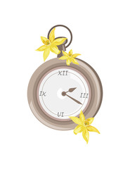 Antique Vintage Pocket watch with flowers ornaments Vector illustration
