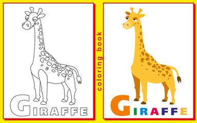 Coloring Book for Kids with letters and words. giraffe. vector i