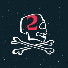 Number two logo in vintage style skull.