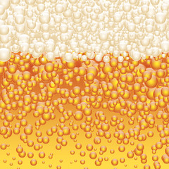 Beer and beer foam, bubbles. Oktoberfest wallpaper, vector design background.