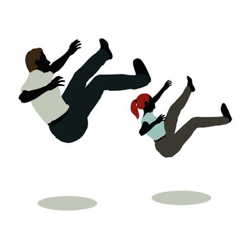 man and woman silhouette in Still Pose Falling