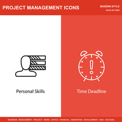 Set Of Project Management Icons On Personality And Deadline. Project Management Icons Can Be Used For Web, Mobile And Infographics Design. Vector Illustration, Eps10.