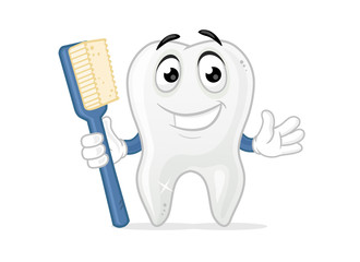 Happy tooth mascot holding toothbrush vector cartoon illustration