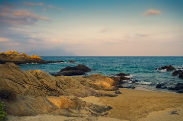 Beautiful shore and rocks in Greece