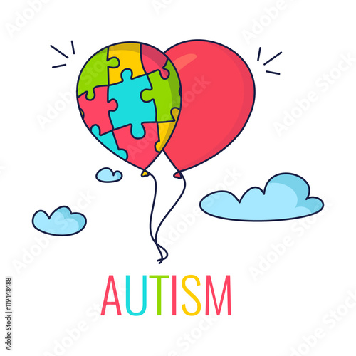 Autism Awareness Poster With Colorful Balloons Made Of Puzzle Pieces