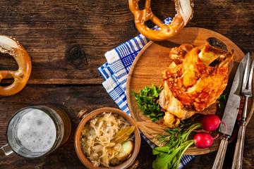 Pork knuckle with beer and sauerkraut