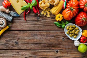 Italian food ingredients on the table