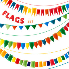 Rainbow bright colors holiday garlands flags set on white background, vector