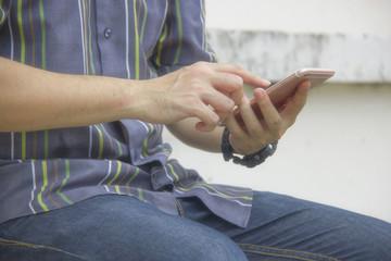 Man playing telephone.