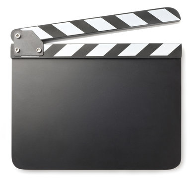 Movie clapper isolated on white background