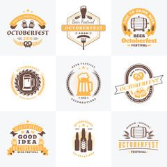 Beer Festival Octoberfest celebrations. Set of retro vintage bee