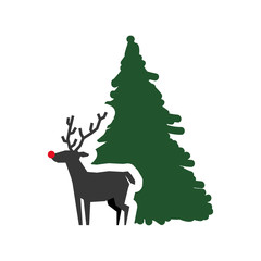 pine tree reindeer deer merry christmas celebration decoration icon. Flat and Isolated design. Vector illustration