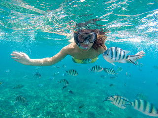 Young woman snorkeling with the fishes in sea of Malaysia
