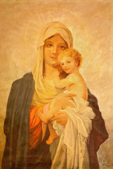 MARIANKA, SLOVAKIA - DECEMBER 4, 2012: The painting of Madonna  by J. Balogh (20. cent.) in parish building of Marianka.