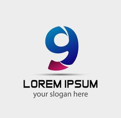 Logo number 9 company nine icon design template