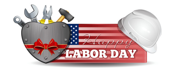 Labor Day design. Horizontal banner with an American flag, helmet, tools and lettering - Happy Labor Day