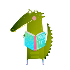 Childish Student Crocodile Reading Book and Study