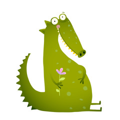 Green Cute Kids Crocodile Sitting with Flower