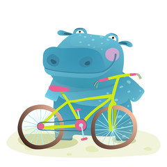 Kid Cute Hippo with Bicycle Childish Cartoon