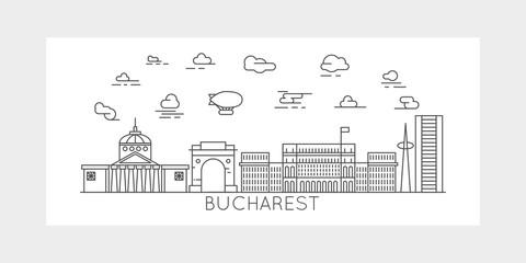 Bucharest City Line vector illustration