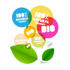 BIO. Vector 100% Natural Product Labels. Colorful Transparent Bubbles with Green LEaves on White Background.