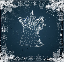 Christmas card with hand-drawn snowflakes, snowman, lanterns, candles and bag full of gifts on blackboard. Vector sketch illustration. Doodle christmas card.
