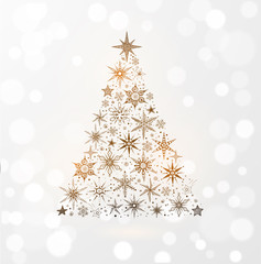 Christmas tree with stars and snowflakes. Hand drawn doodle sketch illustration on white glowing background