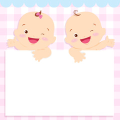 baby boy and girl space frame
