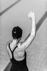 Warming up for swimming, black and white