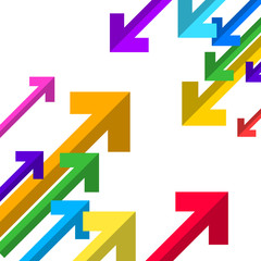 Folded Arrows. Paper Colorful Arrows Background.